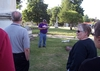 Chris Eik Winick '73 and others listen as Rex explains one of the relevant sites in Hope Cemetery.